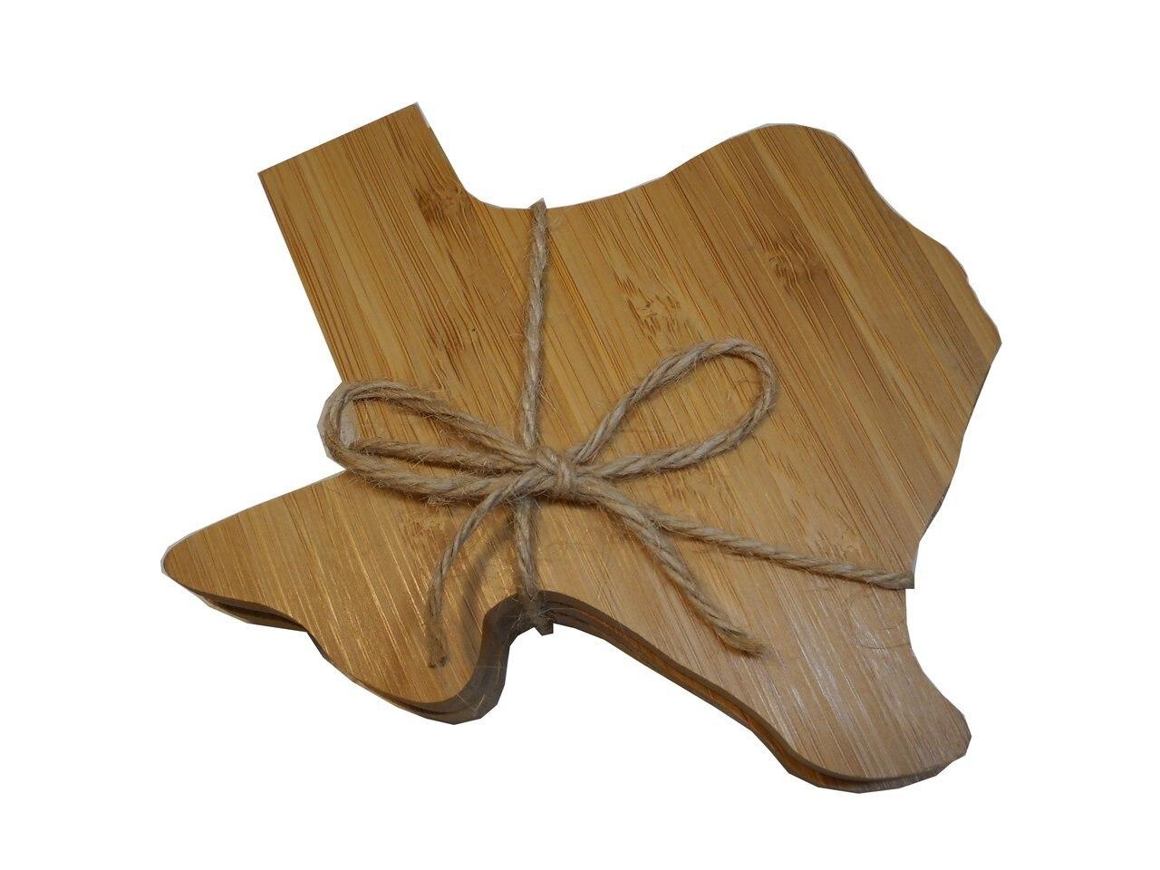 Texas Shaped Bamboo Coaster Set 1