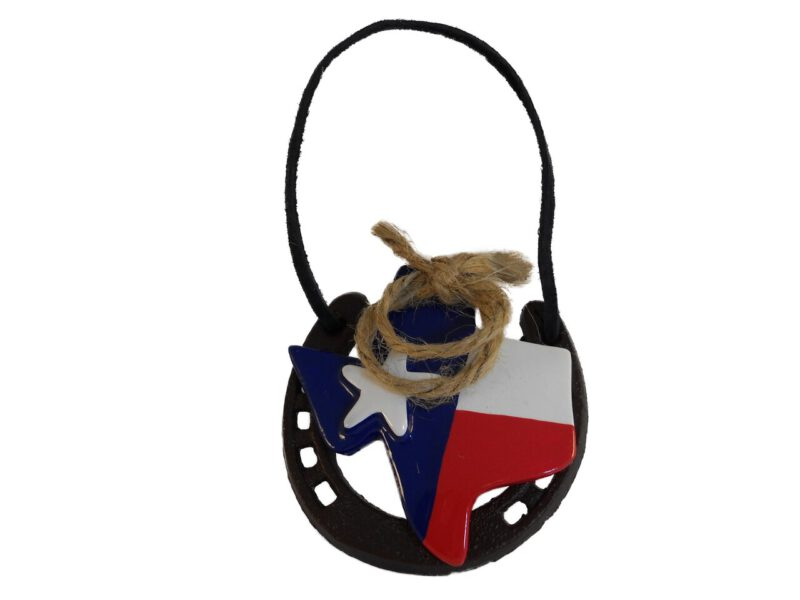 Texas Ropin on Horseshoe Ornament
