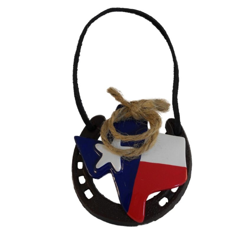 Texas Ropin on Horseshoe Ornament
