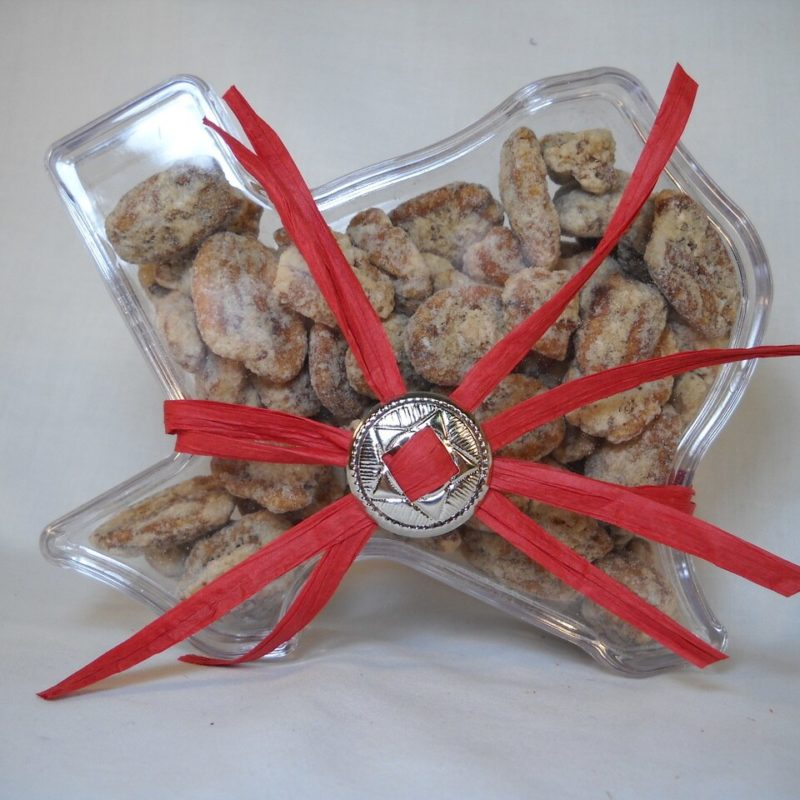 Praline Pecan Halves in Texas shaped Box