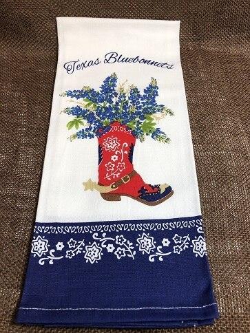 Bluebonnet Boot Tea Towel