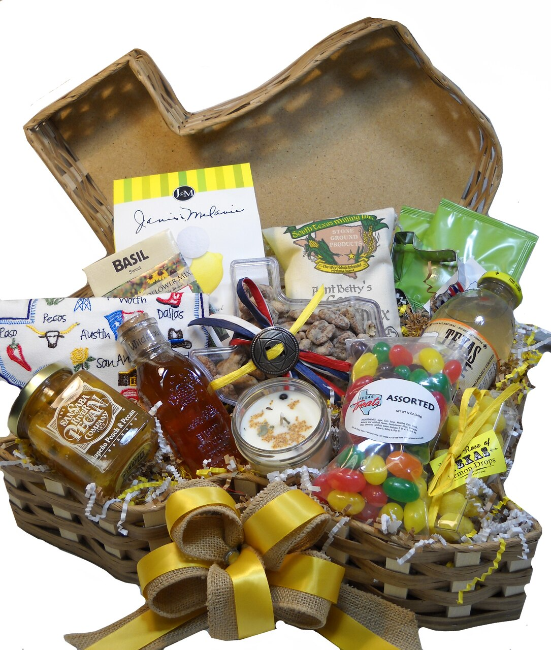 Yellow Rose of Texas Gift Basket 1