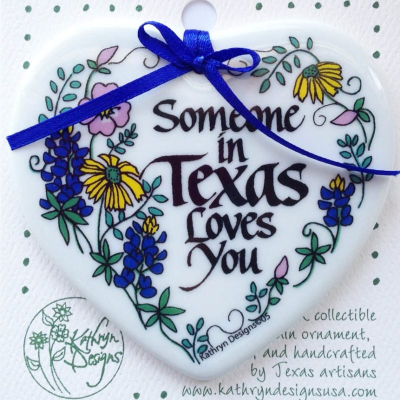 Someone in Texas Loves You - Heart Shaped Ornament