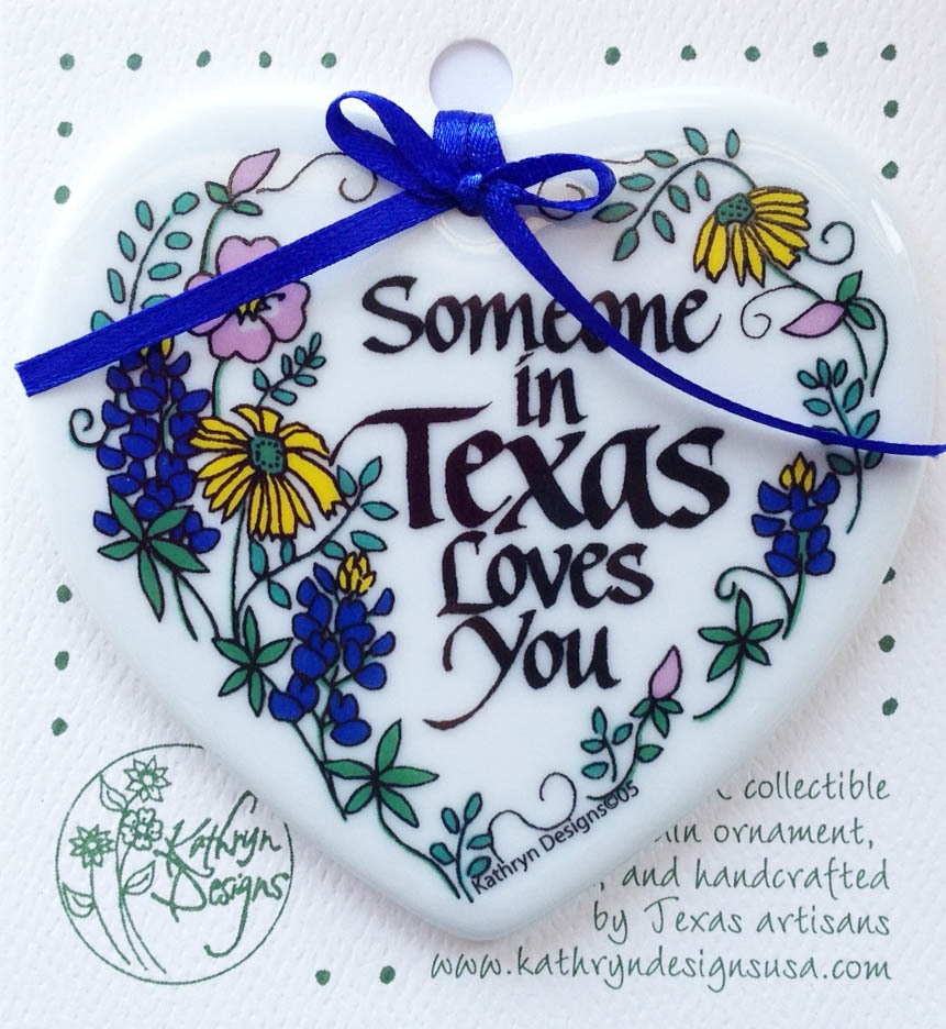 Someone in Texas Loves You – Heart Shaped Ornament 1