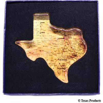 Texas Shape Crystal Paperweight